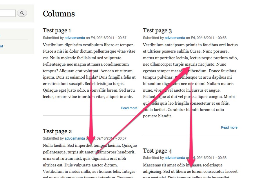 Flowing a list view into two columns - Advomatic