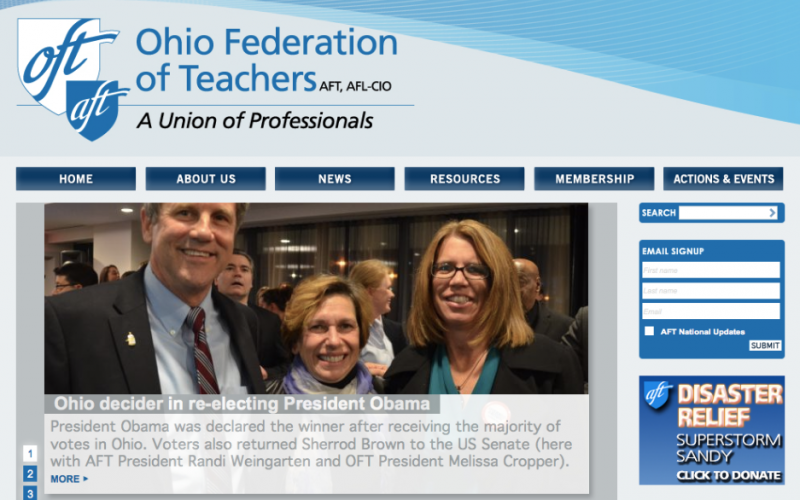 American Federation of Teachers (AFT) Stateweb desktop site screenshot