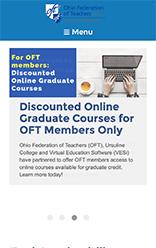 American Federation of Teachers (AFT) Stateweb mobile site screenshot
