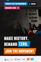 Global Zero mobile site screenshot