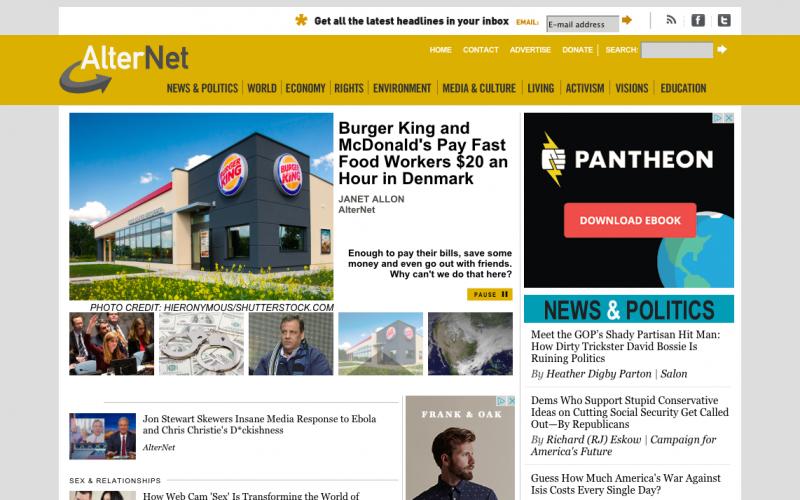AlterNet desktop site screenshot
