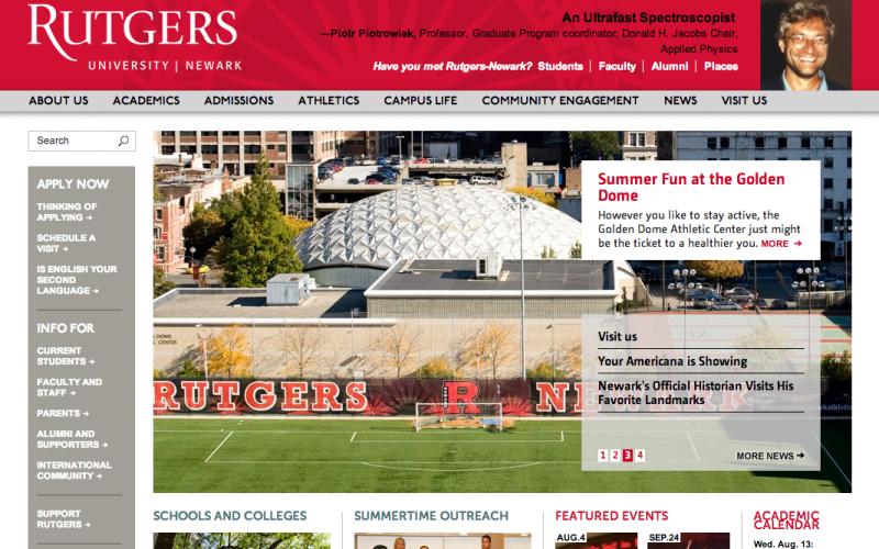Rutgers - Newark desktop site screenshot