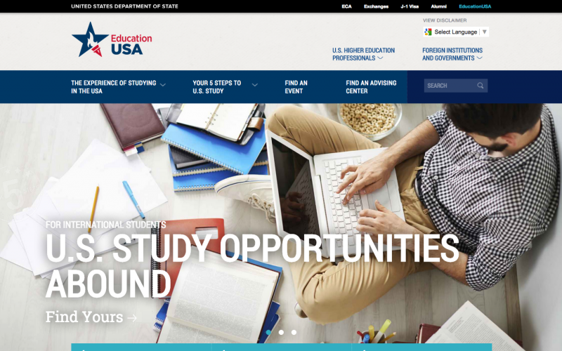 Education USA desktop site screenshot
