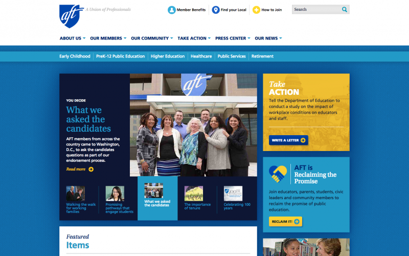 American Federation of Teachers desktop site screenshot