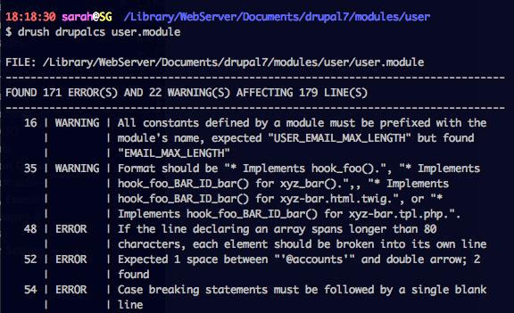 PHPCS command line output.