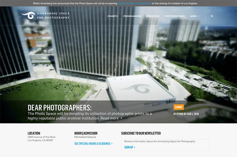 Annenberg Space for Photography desktop site screenshot