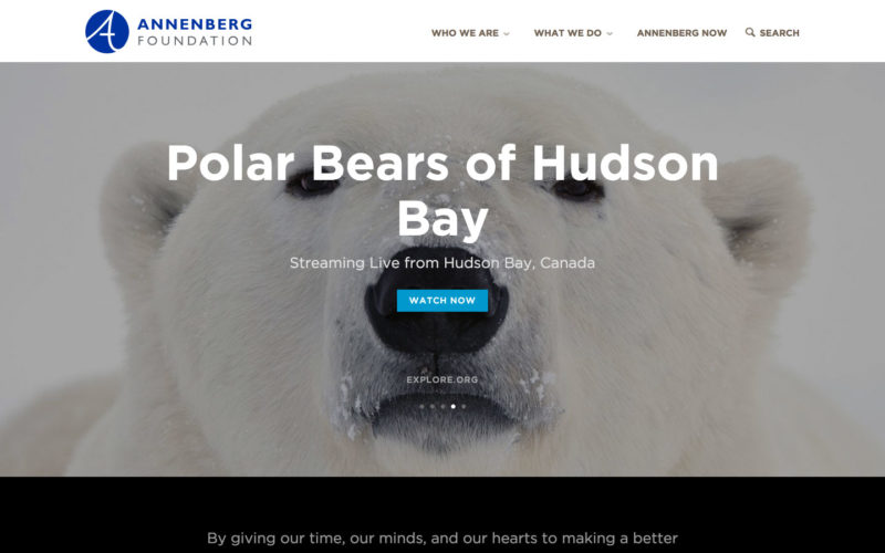 The Annenberg Foundation desktop site screenshot