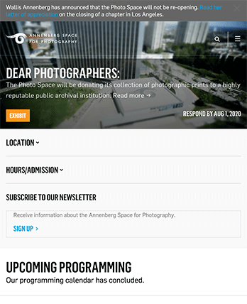 Annenberg Space for Photography tablet site screenshot