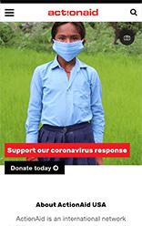 ActionAid USA mobile site screenshot
