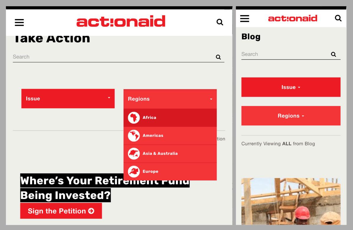 ActionAidUSA search widgets