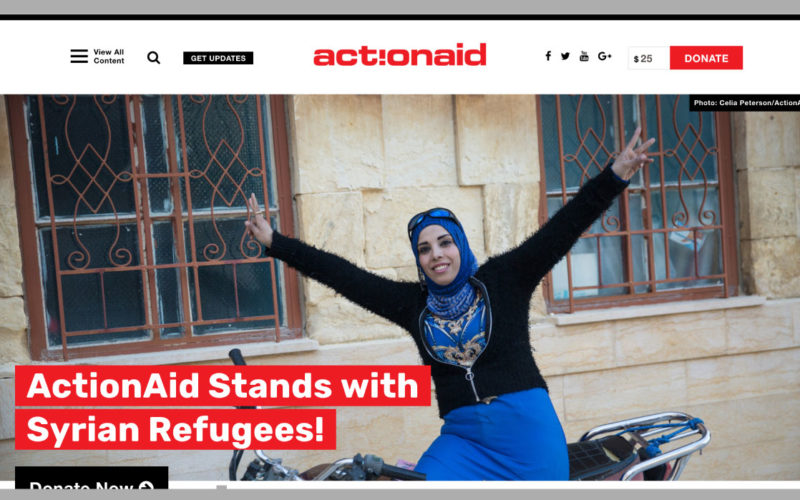 ActionAid USA desktop site screenshot