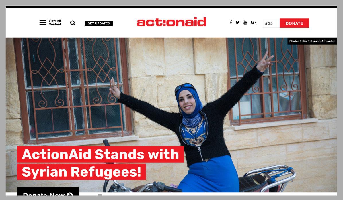 ActionAidUSA homepage on desktop