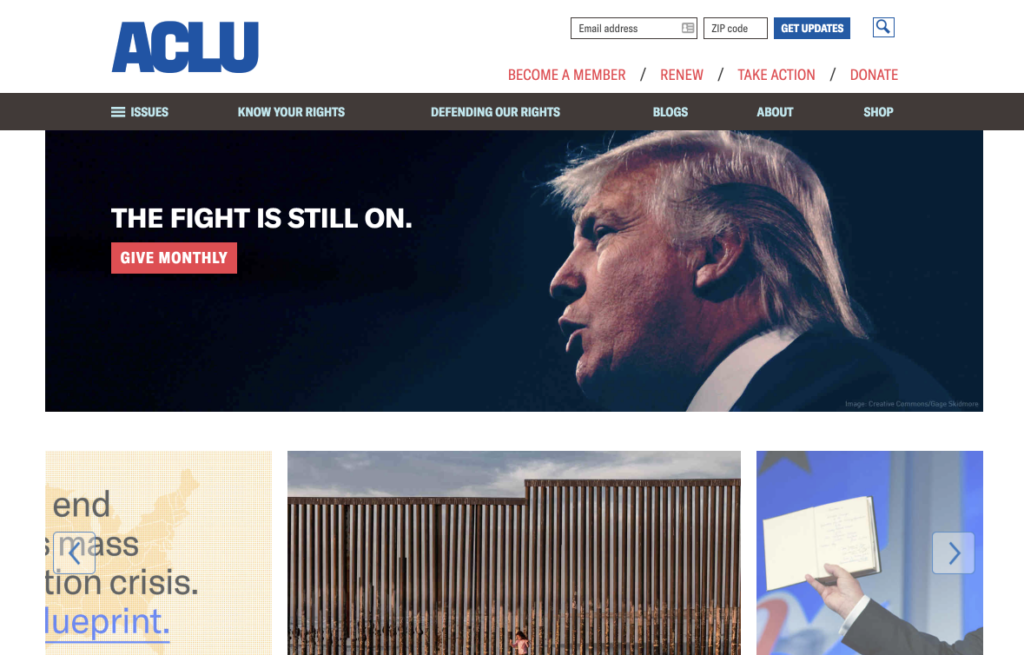 Screenshot of ACLU homepage, desktop layout