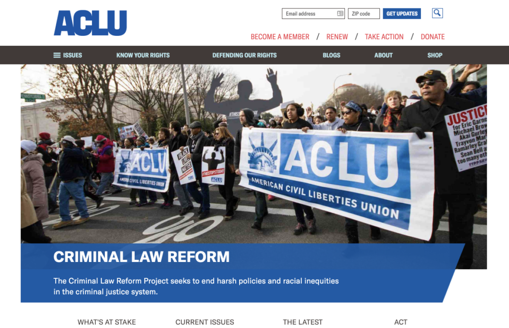 Screenshot of ACLU issue page, desktop layout