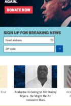 ACLU mobile site screenshot
