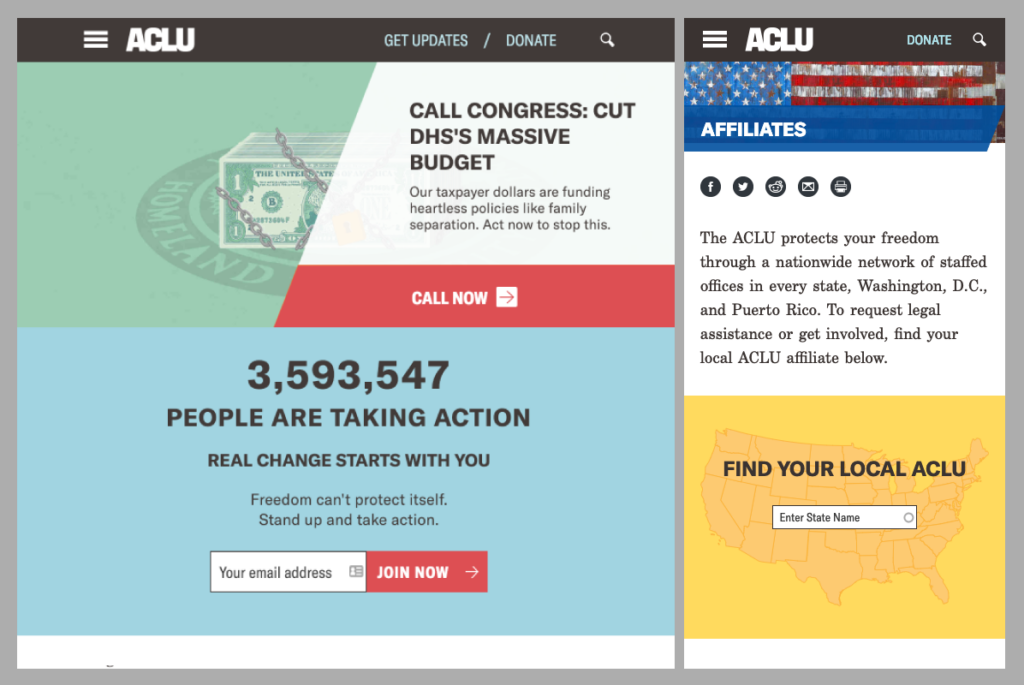 Screenshot of ACLU Action and Affiliates pages, tablet/mobile layout