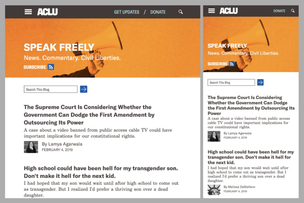 Screenshot of ACLU blog, tablet/mobile layout