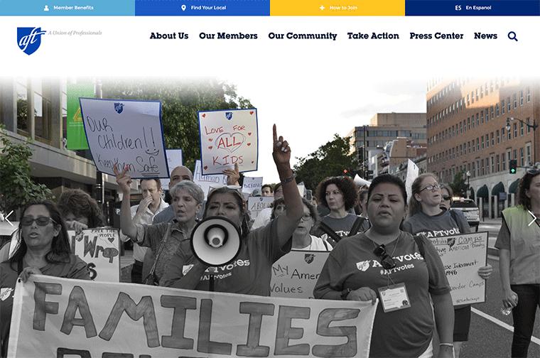 American Federation of Teachers desktop site screenshot