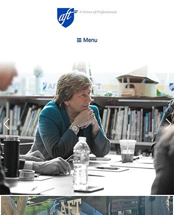 American Federation of Teachers tablet site screenshot