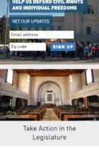 ACLU Affiliate Templates mobile site screenshot