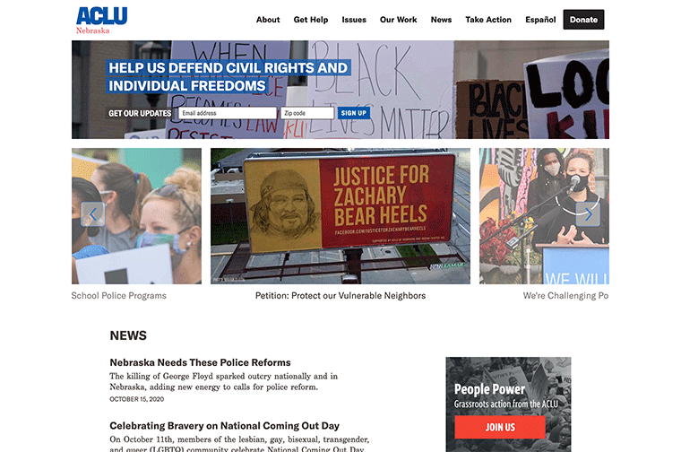 American Civil Liberties Union (ACLU) Affiliates desktop site screenshot