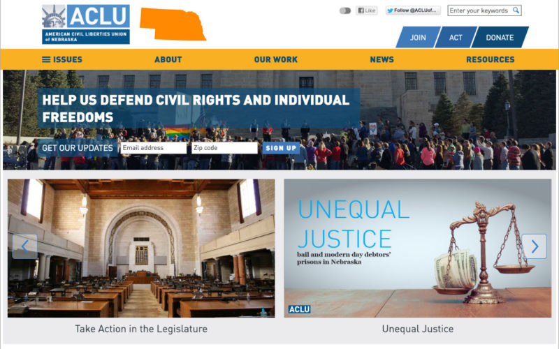ACLU Affiliate Templates desktop site screenshot
