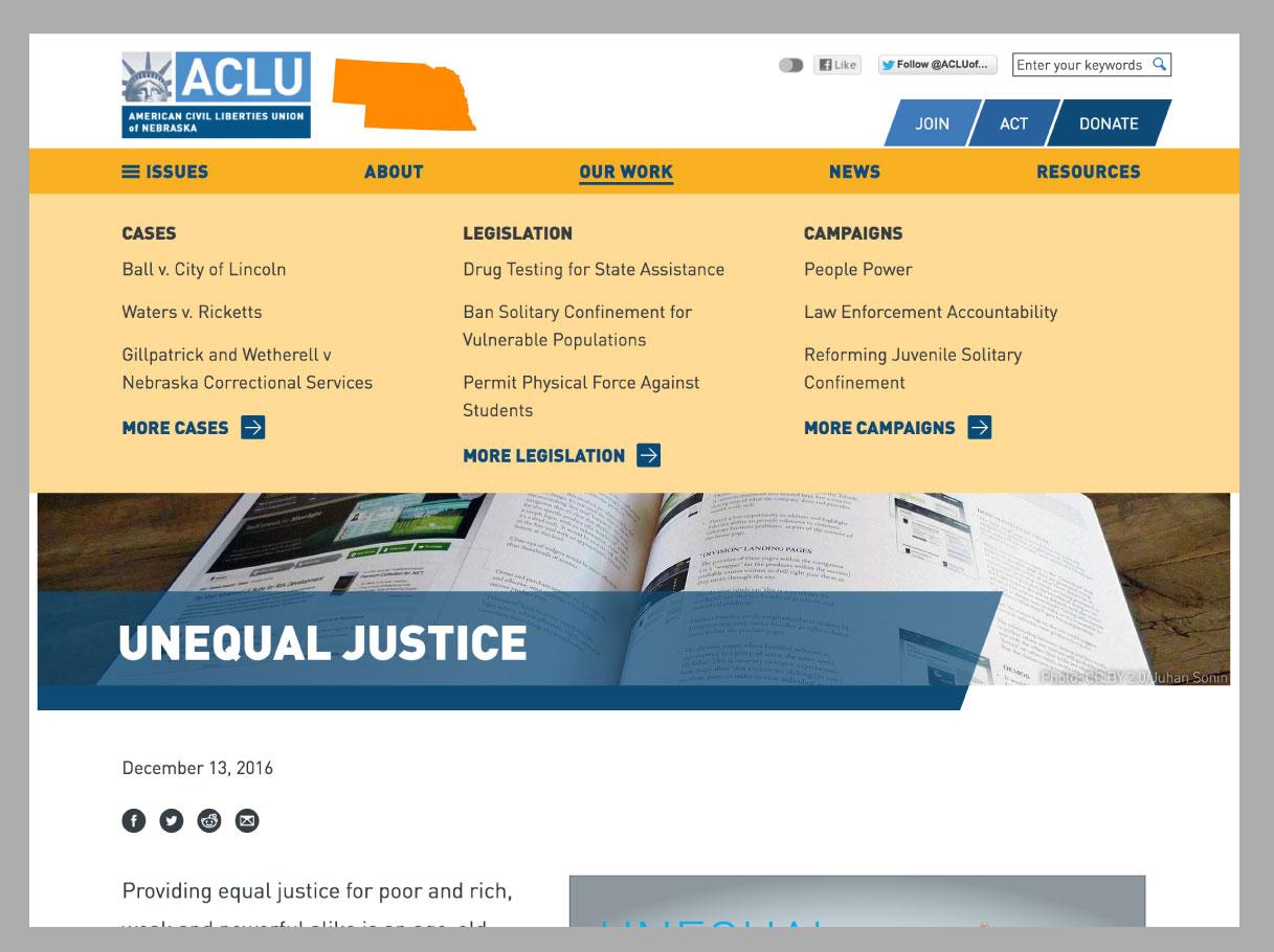 ACLU Nebraska screenshot