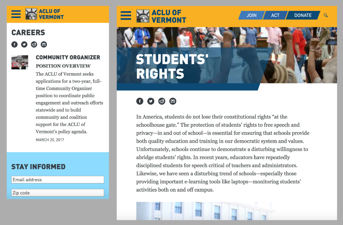 ACLU Affiliates mobile and medium widths