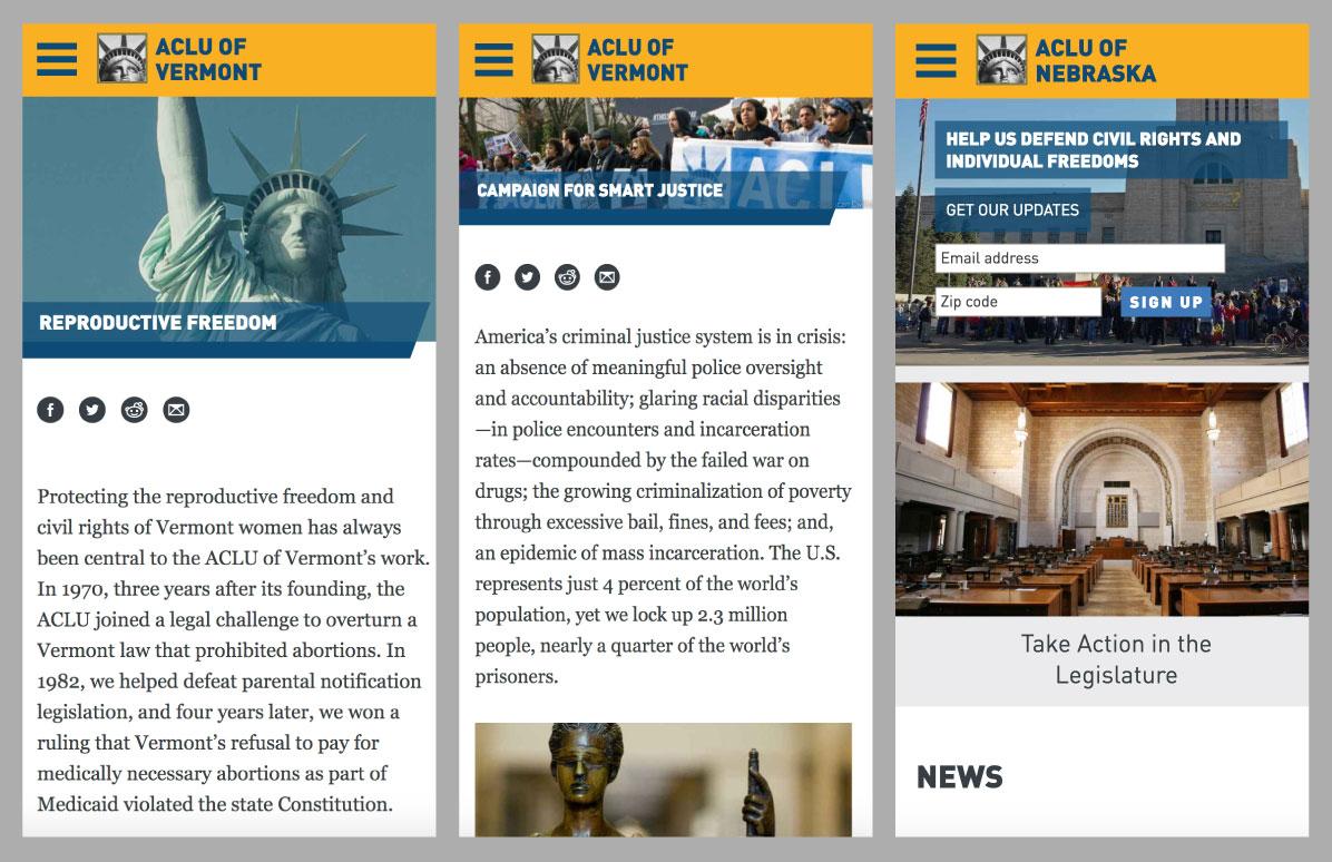 ACLU Affiliates mobile