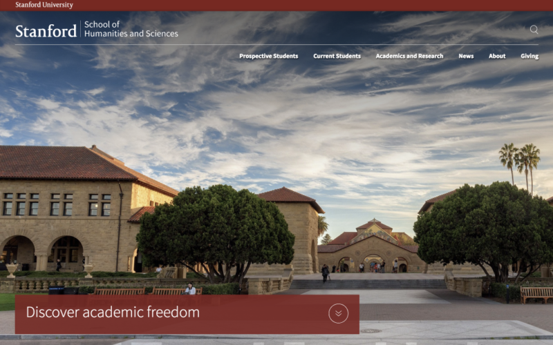 Stanford School of Humanities and Sciences desktop site screenshot