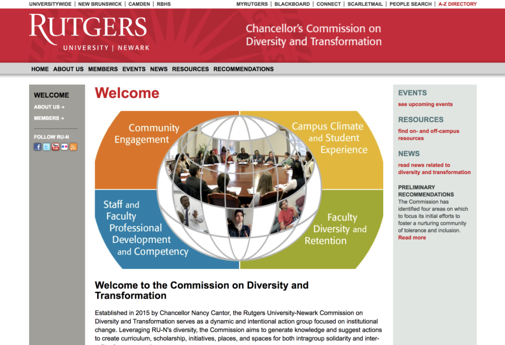 Screenshot of the Rutgers-Newark large-screen CCDT subdomain homepage