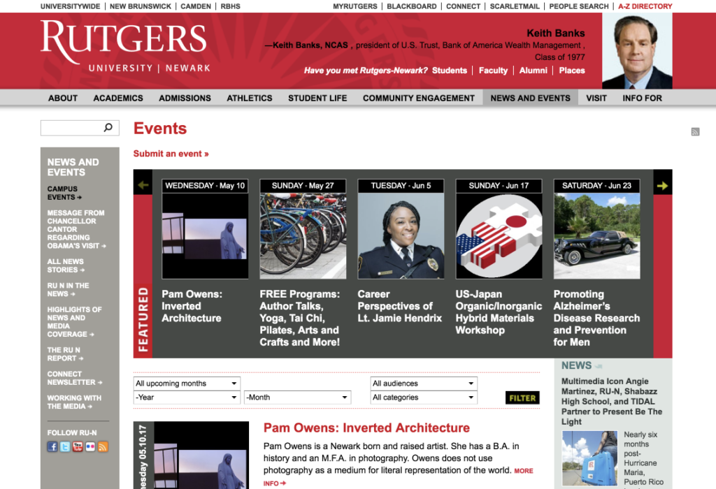 Screenshot of the Rutgers-Newark large-screen Events page