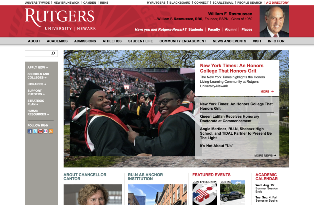 Screenshot of the Rutgers-Newark large-screen homepage