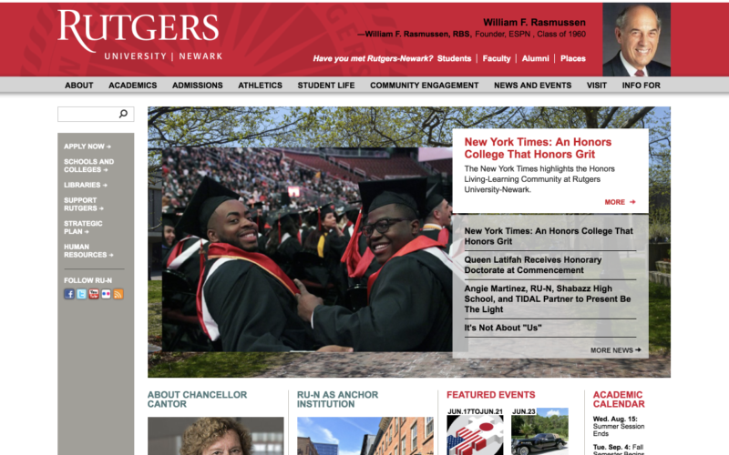 Rutgers University - Newark — ongoing support desktop site screenshot