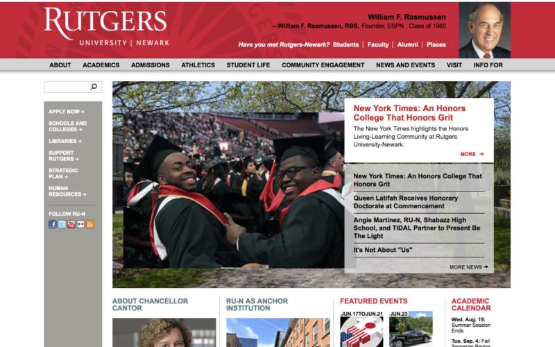 Rutgers University - Newark — ongoing support desktop site screenshot