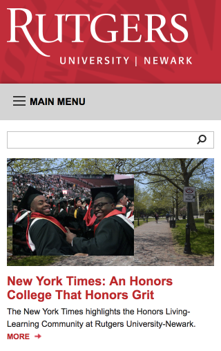 Screenshot of the Rutgers-Newark small-screen homepage