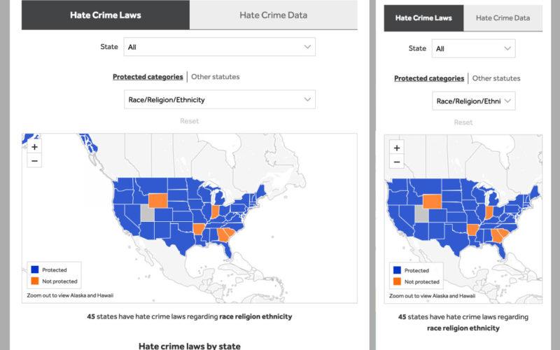 ADL Hate Crimes Map desktop site screenshot