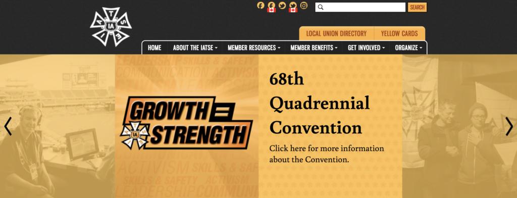 Screenshot of the IATSE large-screen homepage