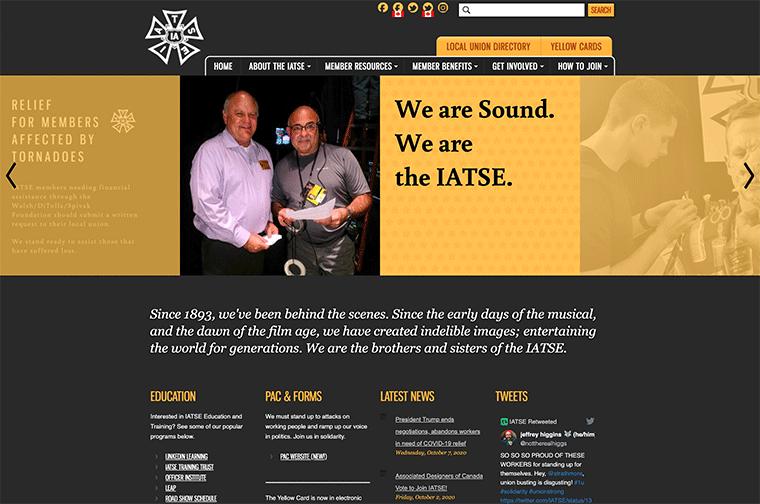 International Alliance of Theatrical Stage Employees (IATSE) desktop site screenshot