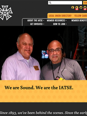 International Alliance of Theatrical Stage Employees (IATSE) tablet site screenshot