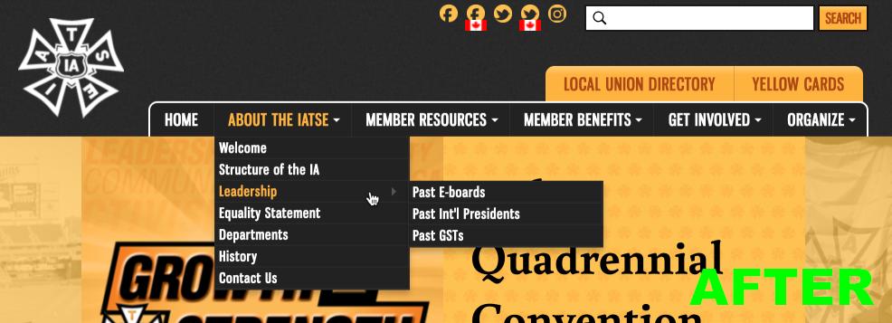 Screenshot of the new IATSE header navigation