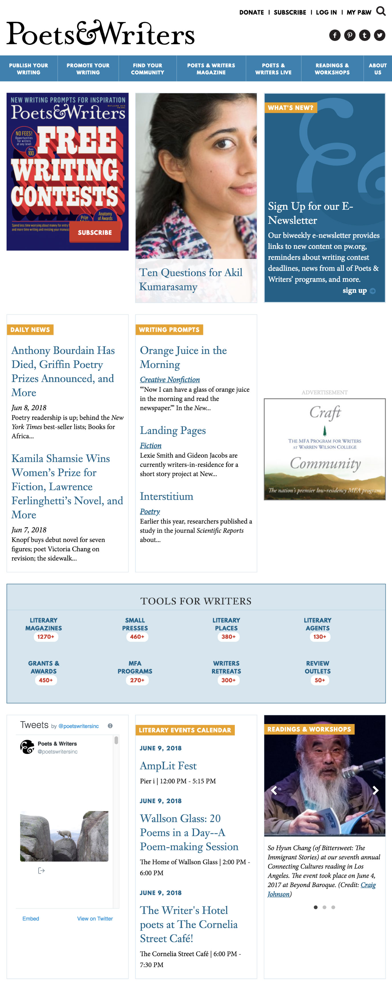poets and writers homepage