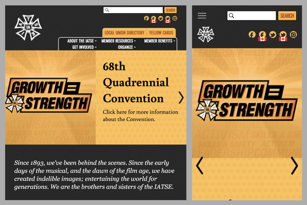 Screenshots of the IATSE tablet/mobile homepage