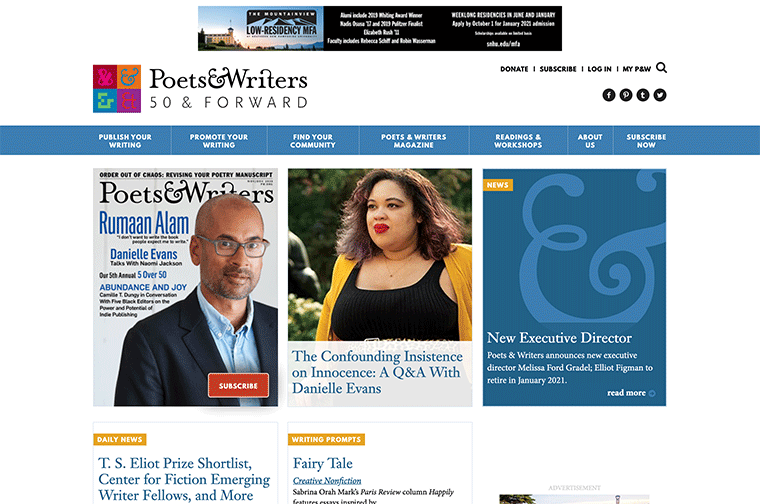 Poets & Writers desktop site screenshot