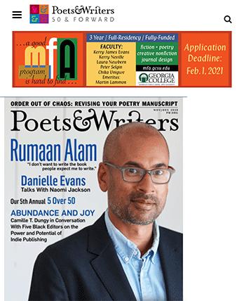 Poets & Writers tablet site screenshot