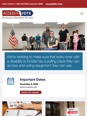 Access the Vote tablet site screenshot
