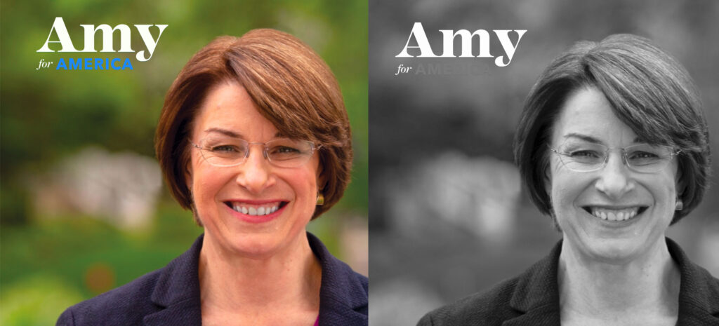 Amy Klobuchar color and grayscale comparison