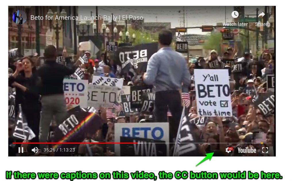 Beto video missing cc button