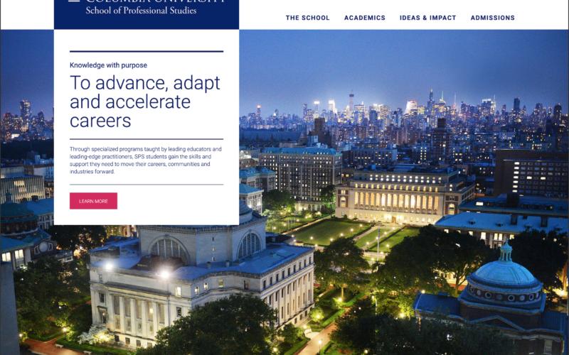 Columbia University School of Professional Studies desktop site screenshot