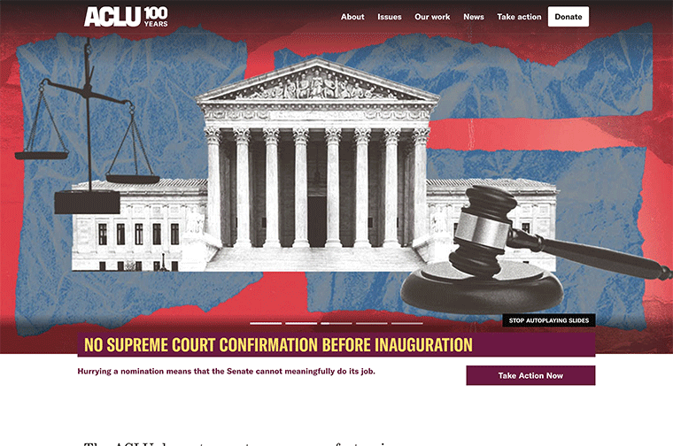 ACLU desktop site screenshot